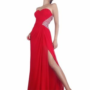 NWT Passion Red Rhinestone Strapless Sideslit Gown